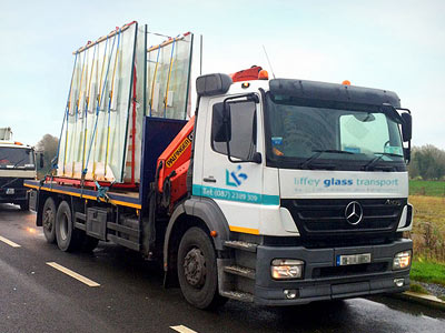 HIAB Crane Trucks for glass transport in Ireland
